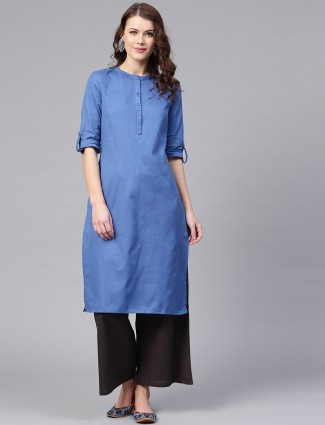 W solid blue color casual kurti