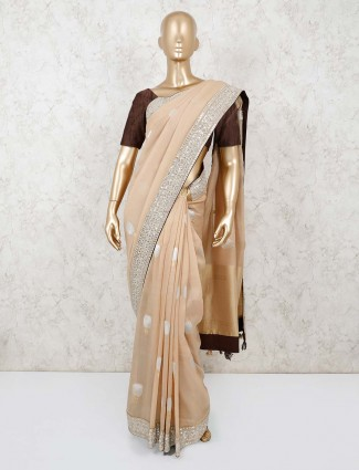 Beige colour pashmina silk for festival