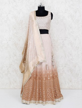 Brown shaded lehnga in geogrette fabric with heavy blouse and odhani