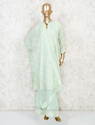 Light green A line kurti with palazzo pant in georgette