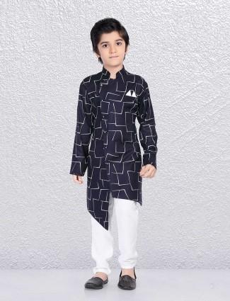 Navy printed kurta suit for little boy