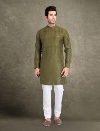Olive cotton checks design kurta suit