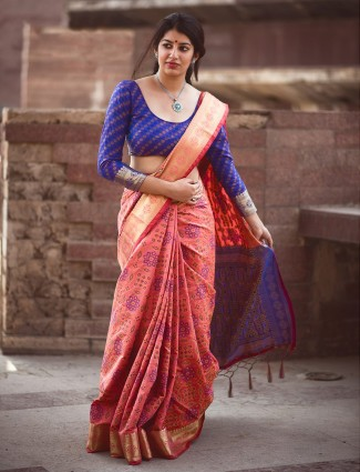 Peach patola silk saree