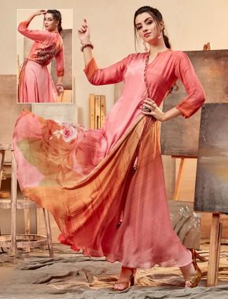 Printed red cotton silk kurti