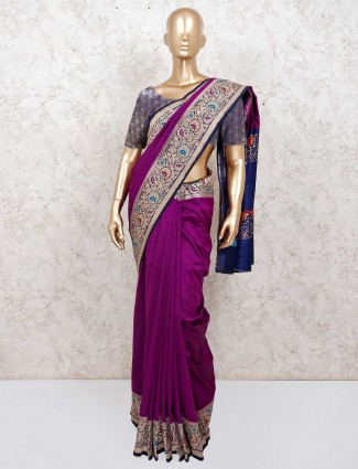 Silk wedding purple color saree