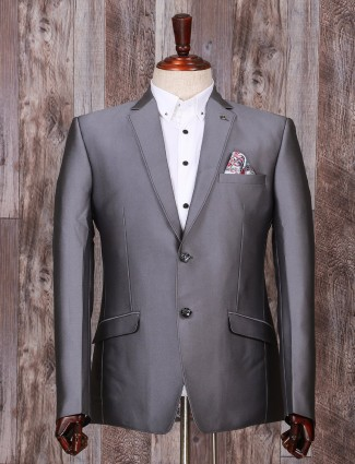 Solid grey terry rayon partywear coat suit