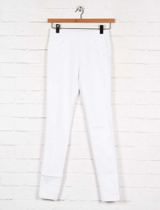 White denim casual wear jeggings