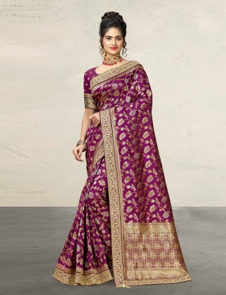 Wine purple designer banarasi silk saree