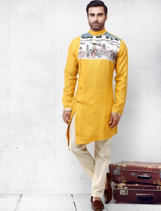 Yellow cotton silk bandhgala kurta suit