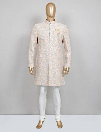 A hue of beige in cotton sherwani