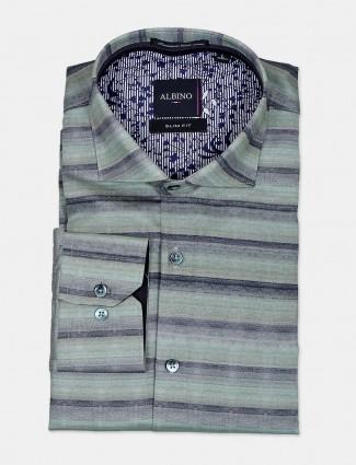 Abino cut away collar green stripe shirt