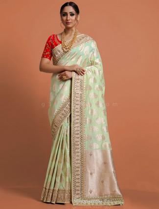 Adorable pista green banarasi silk saree