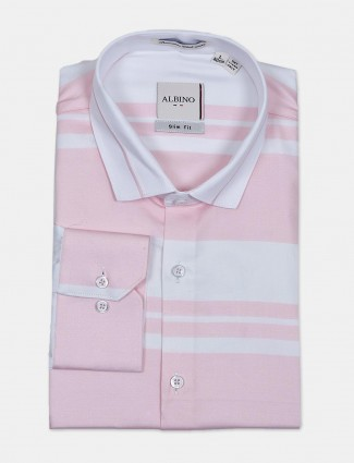 Albino stripe pink formal wear shirt