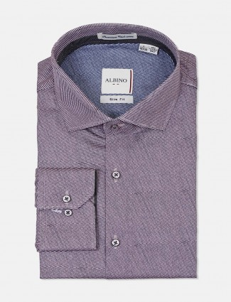 Albino stripe purple cut away collar shirt