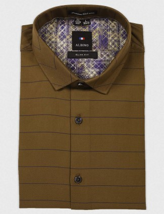 Albino striped olive cotton shirt