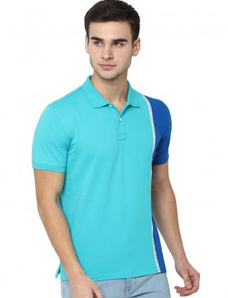 Allen Solly aqua half buttoned placket t-shirt