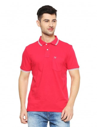 Allen Solly cotton magenta solid t-shirt