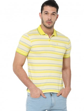 Allen Solly cream and yellow stripe t-shirt