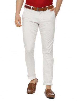 Allen Solly cream color solid cotton trouser