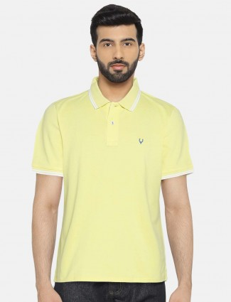 Allen Solly lemon yellow solid t-shirt