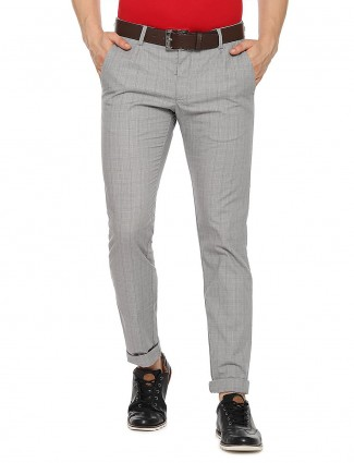 Allen Solly light grey checks slim fit trouser