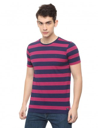 Allen Solly magenta cotton stripe t-shirt