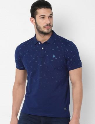 Allen Solly navy printed casual wear t-shirt