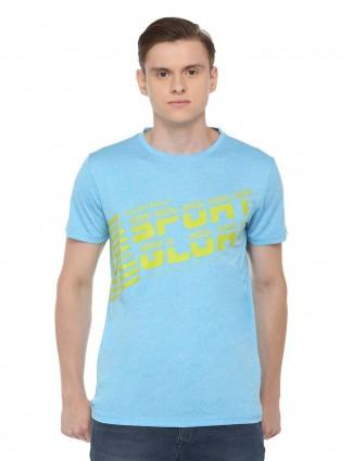 Allen Solly printed aqua hued t-shirt