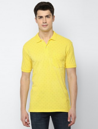Allen Solly printed yellow polo t-shirt