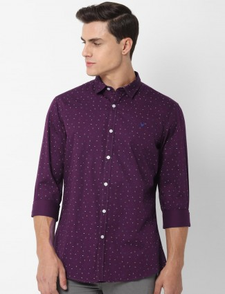 Allen Solly purple printed casual wear shirt