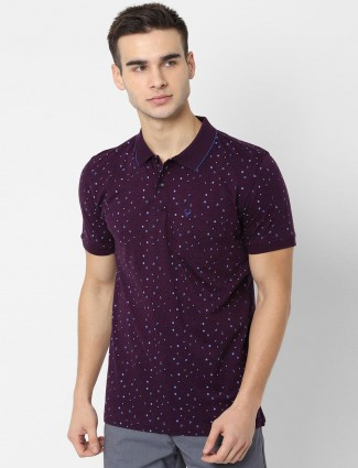 Allen Solly purple printed patch pocket t-shirt