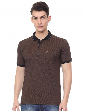Allen Solly solid brown patch pocket t-shirt