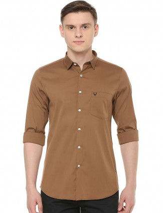 Allen Solly solid cotton coffee brown shirt