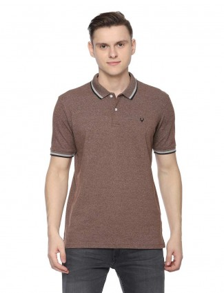 Allen Solly solid cotton fabric brown t-shirt