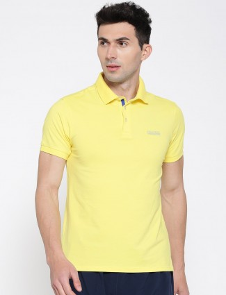 Allen solly solid cotton yellow t-shirt