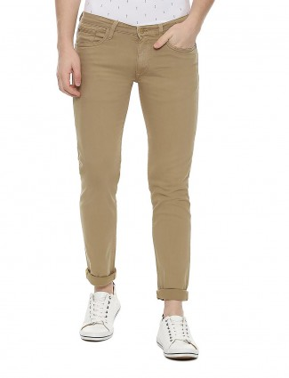 Allen Solly solid khaki slim fit jeans