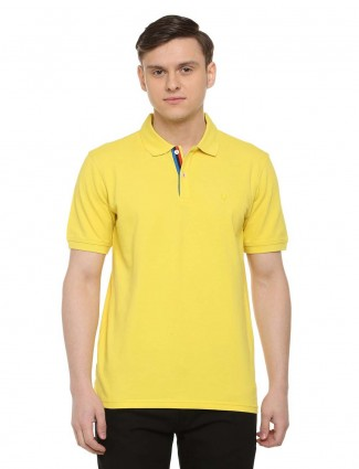 Allen Solly solid yellow colored colored t-shirt