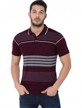 Allen Solly stripe wine maroon mens t-shirt