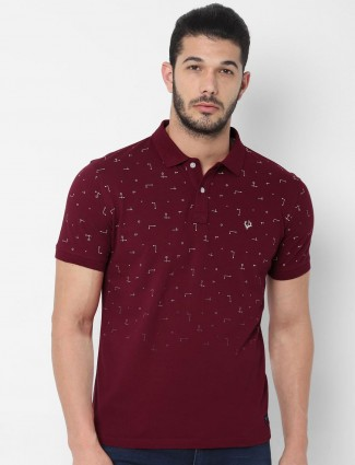Allen Solly wine maroon printed t-shirt