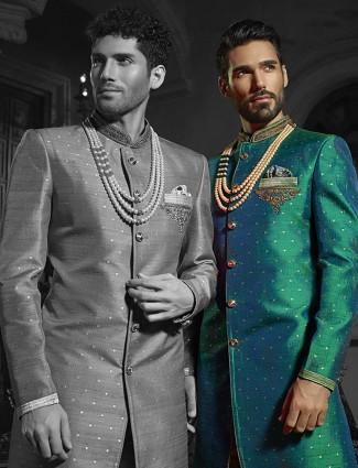 Alluring green silk wedding wear indo western