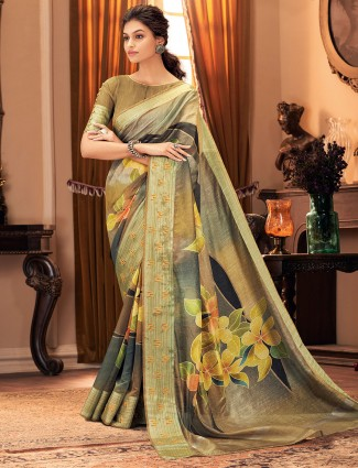 Alluring olive cotton silk saree for festivals