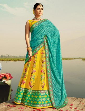 Alluring yellow readymade lehenga choli for festive wear