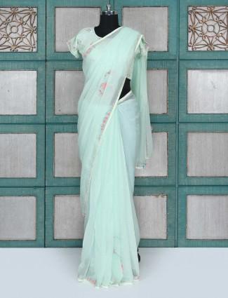 Amazing aqua color party wear saree