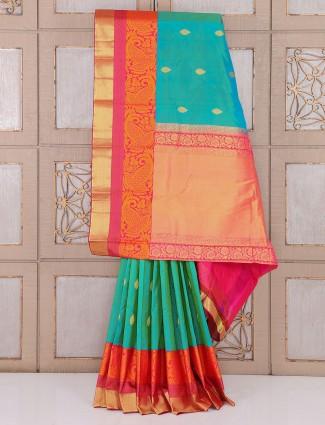 Amazing Aqua color silk wedding wear saree