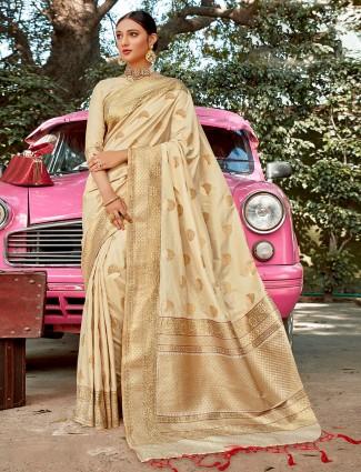 Amazing cream colored semi silk wedding wear saree