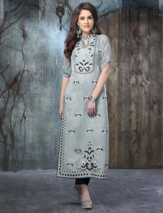 Amazing grey cotton silk kurti