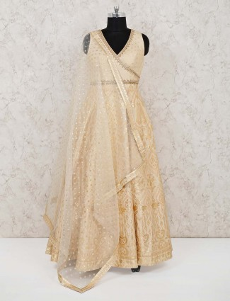 Anarkali floor length in cream banarasi silk