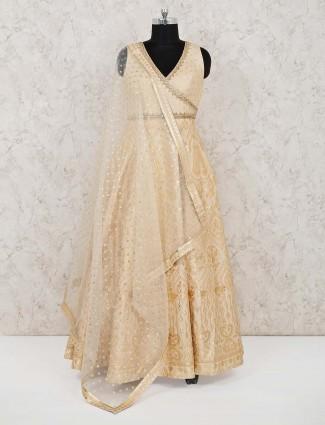 Anarkali floor length in cream banarasi silk