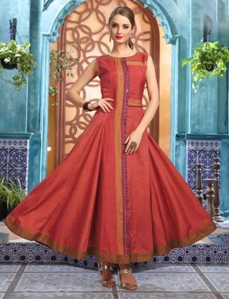 Anarkali kurti in cotton silk rust orange