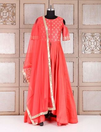 Anarkali suit silk in tomato red color